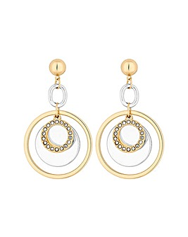 Lipsy 2 Tone Disc Gold Link Earrings