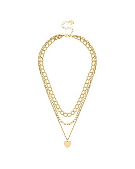 Gold Plated Multirow Chain And Heart Pendant