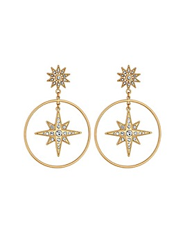 Lipsy Gold Plated Star Inlay Drop Hoop