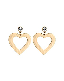 Lipsy Gold Plated Texture Heart Earrings