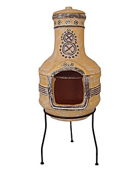 2-Piece Clay Chimenea with Grill