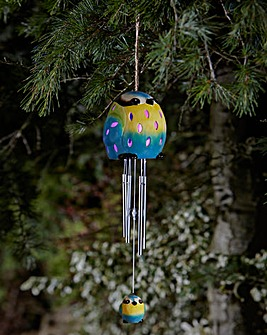 Ceramic Blue Tit Solar Windchime