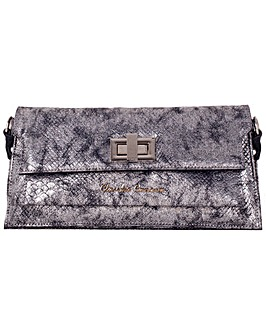 Claudia Canova Metallic Snake Clutch