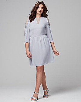 Lace Insert Ruffle Dress