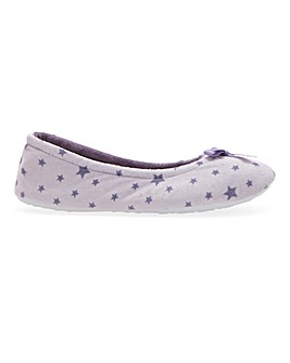 Star Print Ballerina Slippers EEE Fit