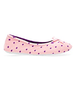 Star Print Ballerina Slippers E Fit