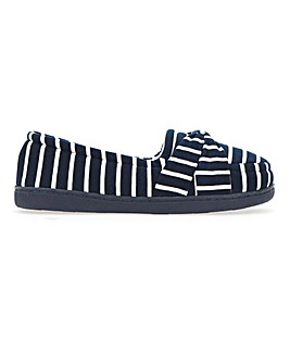 Bow Detail Stripe Slippers E Fit