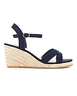Crossover Strap Espadrille Wedge Sandals Extra Wide EEE Fit