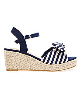 Espadrille Wedge Sandals With Bow Detail Wide E Fit