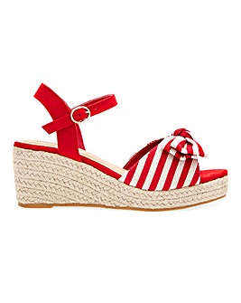 Espadrille Wedge Sandals With Bow Detail Extra Wide EEE Fit
