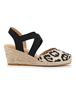 Elasticated Strap Espadrille Wedge Sandals Wide E fit