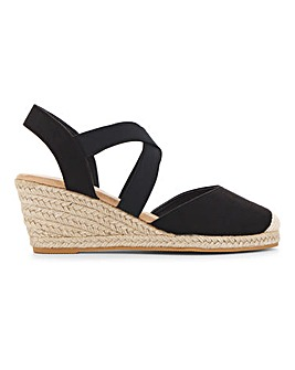 Elasticated Strap Espadrille Wedge Sandals Extra Wide EEE fit
