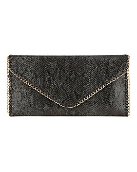 Joanna Hope Chain Detail Snake Envelope Clutch