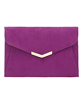 Clutch With Metal Trim Berry