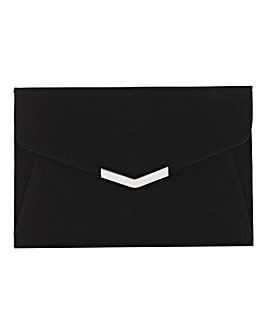 Anna Clutch with Metal Trim Black