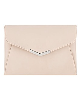 Clutch With Metal Trim Nude