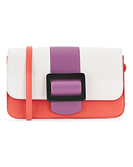 Colour Block Large Buckle Bag