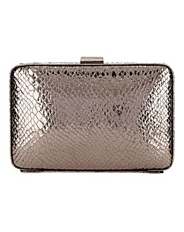 Joanna Hope Metallic Pewter Snake Clutch