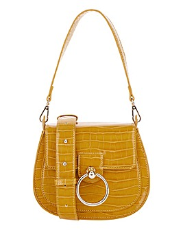 Mini Ochre Croc Saddle Bag