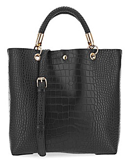 Mock Croc Twisted Handle Tote