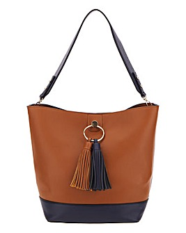 Tan And Navy Tassel Hobo