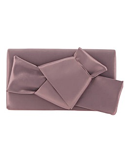 Satin Bow Mauve Clutch