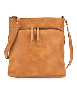 Slouch Messenger Bag With Front Pocket