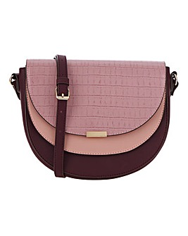 Trifold Mauve Croc Detail Cross Body Bag