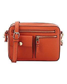 Zip Front Orange Cross Body