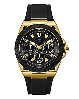 Guess Mens Hudson BlackLeather Watch