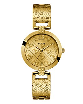 Guess Ladies Gold Logo Bracelet Watch