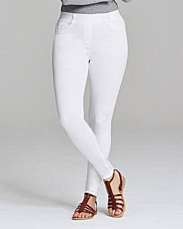 White Amber Skinny Pull-On Jegging Short