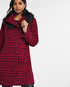 Joe Browns Check Faux Fur Collar Coat