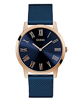 Guess Rose Gold and Blue Mesh Watch
