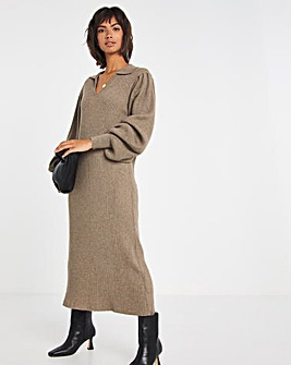 Selected Femme Collar Midi Jumper Dress