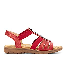 Heavenly Feet Elasticated Trim Sandals Wide E Fit