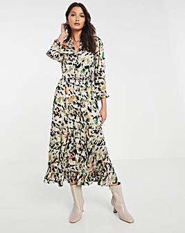 Y.A.S V-Neck Print Smock Dress