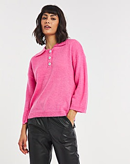 Y.A.S Embellished Button Collared Jumper