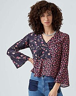 French Connection Floral Drape Top