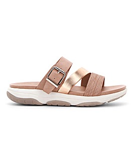 Heavenly Feet Buckle Mule Sandals Extra Wide EEE Fit