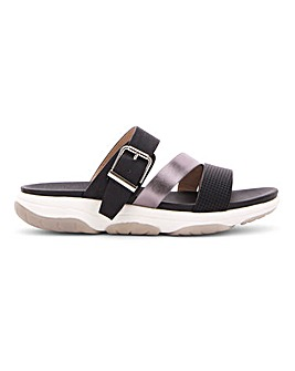 Heavenly Feet Buckle Mule Sandals Wide E Fit