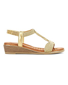 Heavenly Feet Elasticated Wedge Sandals Wide E Fit