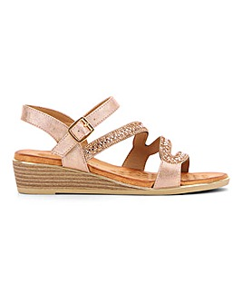 Heavenly Feet Diamante Strappy Sandals Extra Wide EEE Fit