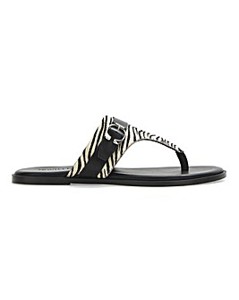 Leather Toe Post Animal Print Sandals Extra Wide EEE Fit