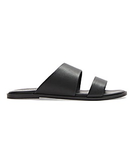 Leather Twin Strap Mule Sandals Wide E Fit