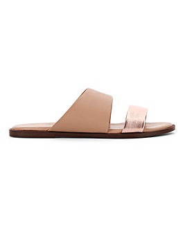 Leather Twin Strap Mule Sandals Extra Wide EEE Fit