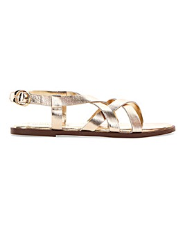 Leather Crossover Strappy Sandals Extra Wide EEE Fit