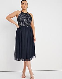 Maya Curve Sleeveless Embellished Midi Dress