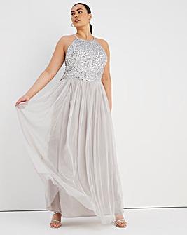 Maya Curve High Neck Sleeveless Embellished Maxi Dress