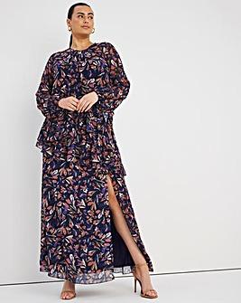 Little Mistress Ruffle Split Maxi Dress
